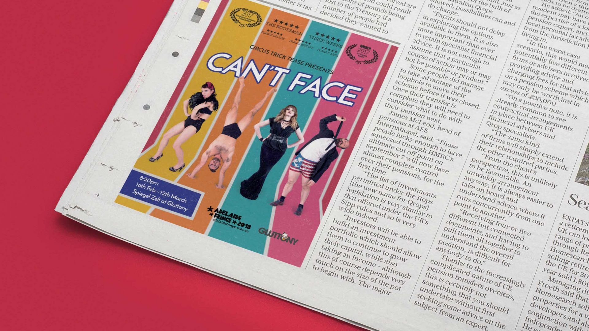 'Can't Face' Newspaper Advertisement Circus Trick Tease