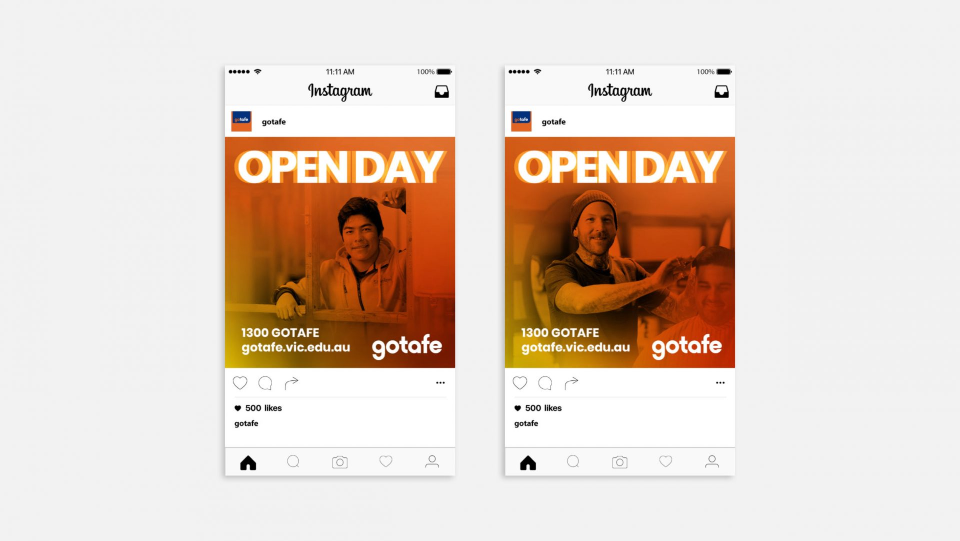 Open day social media tiles for gotafe