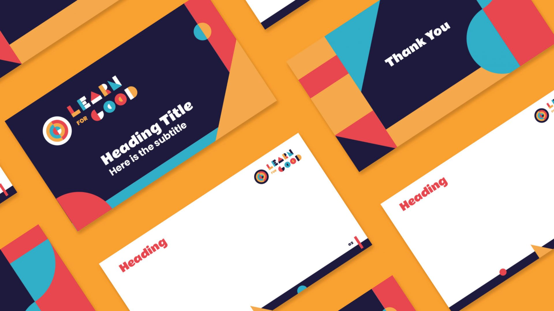 Powerpoint Template design for Learn for Good incorporating new brand identity