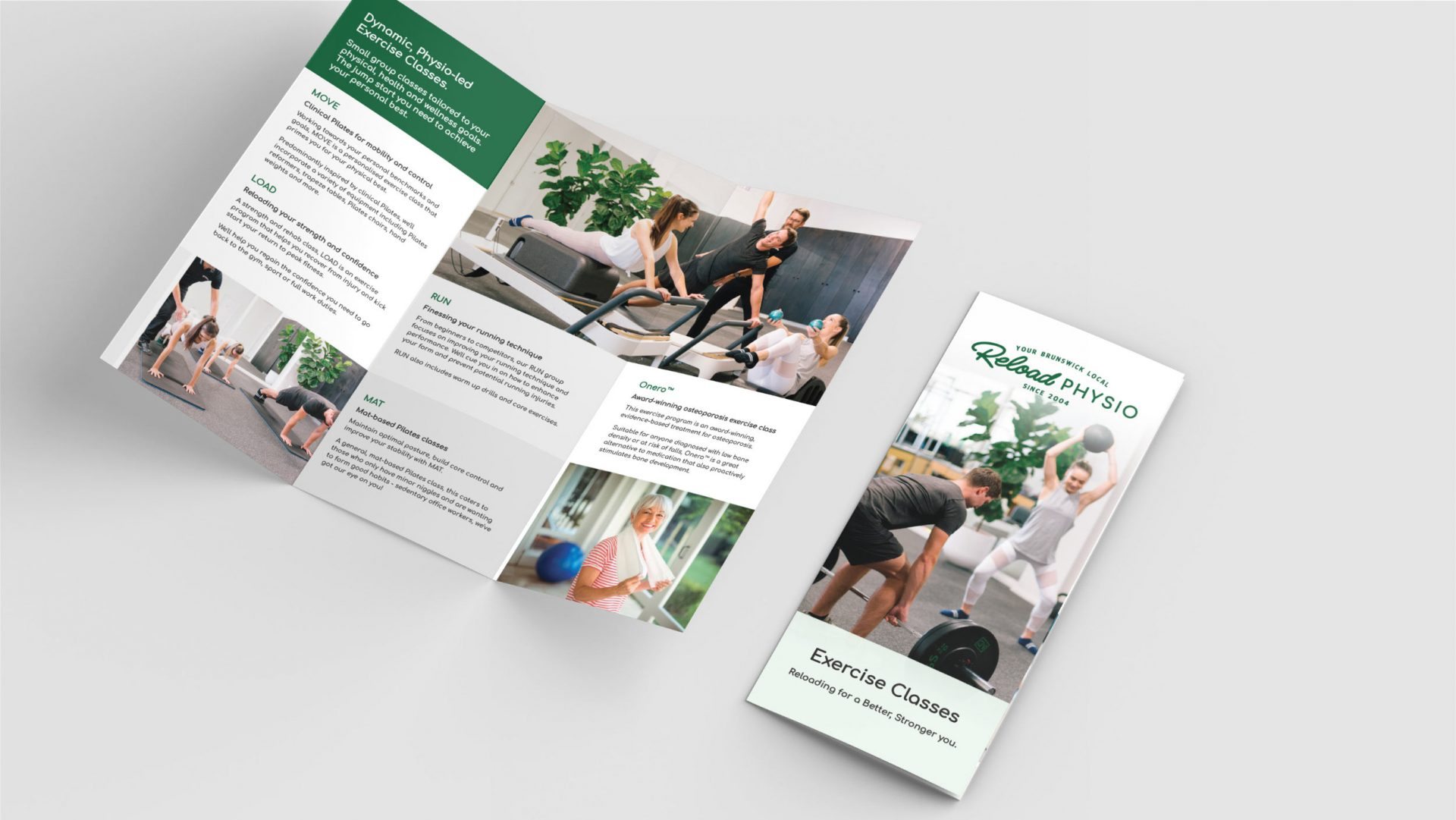 Trifold Exercise Classes brochure for Reload Physio