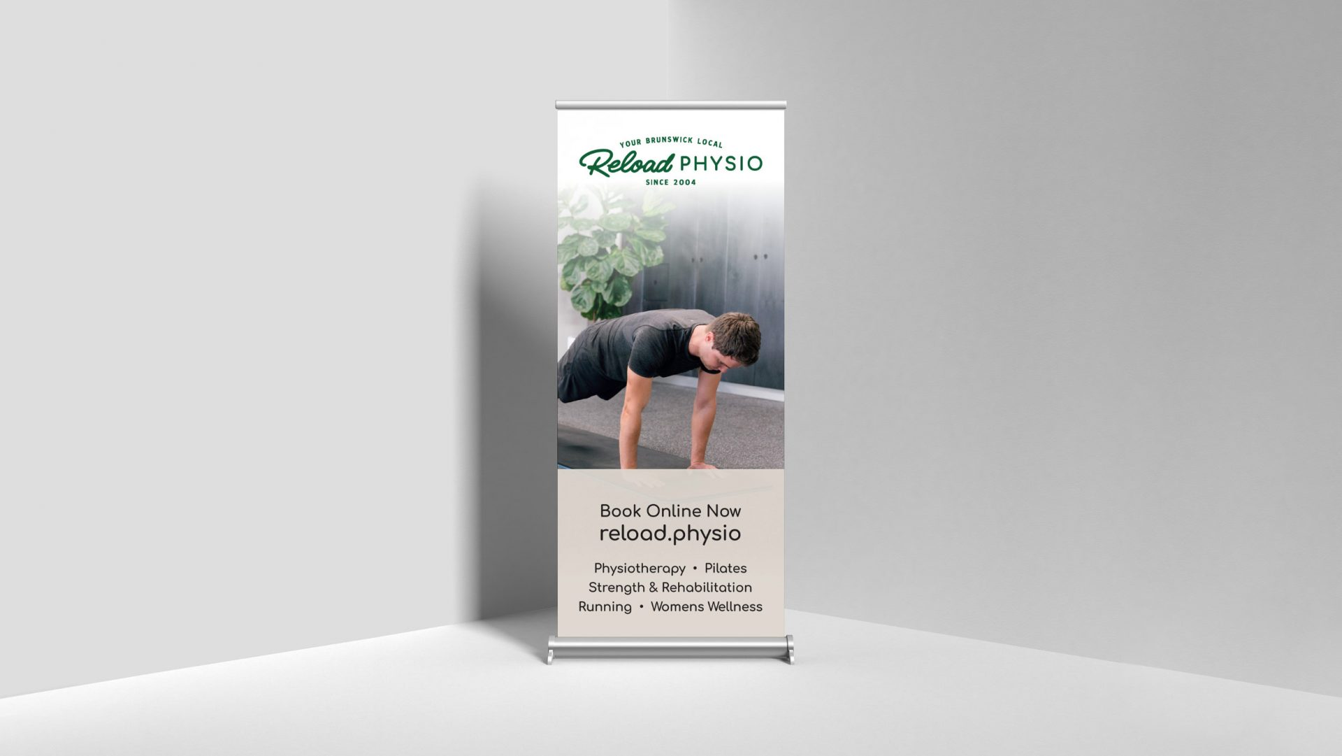 Pull up banner signage for Reload Physio