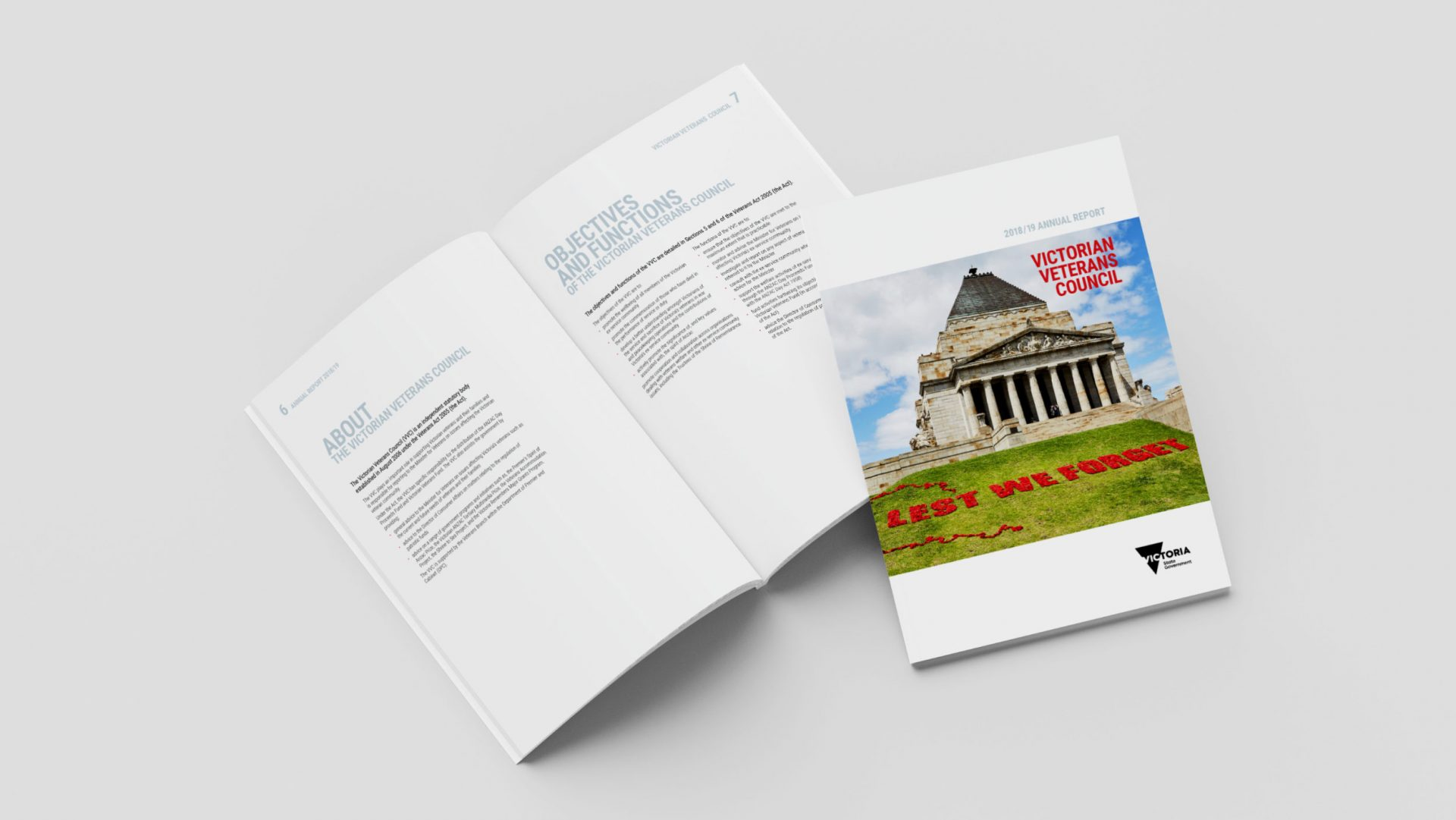 2018/19 Annual Report Cover and spread for the Victorian Veterans Council